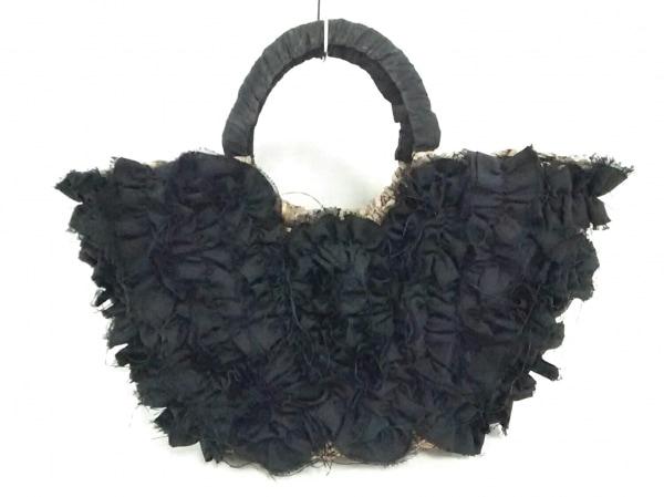 カシェリエ ハンドバッグ 黒×ベージュ かごバッグ/フリル 化学繊維×天然繊維