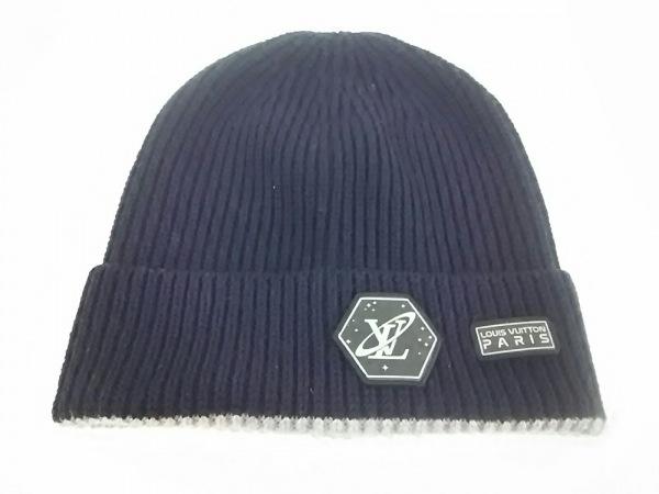LOUIS VUITTON(ルイヴィトン) ニット帽美品  ダークネイビー×グレー ウール