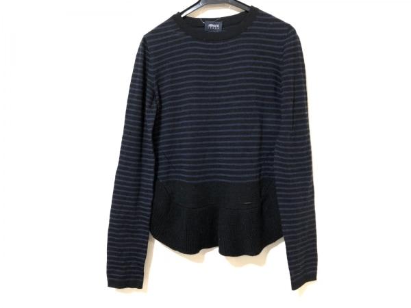 アルマーニジーンズ 長袖セーター サイズ46 L レディース 黒×ネイビー ボーダー