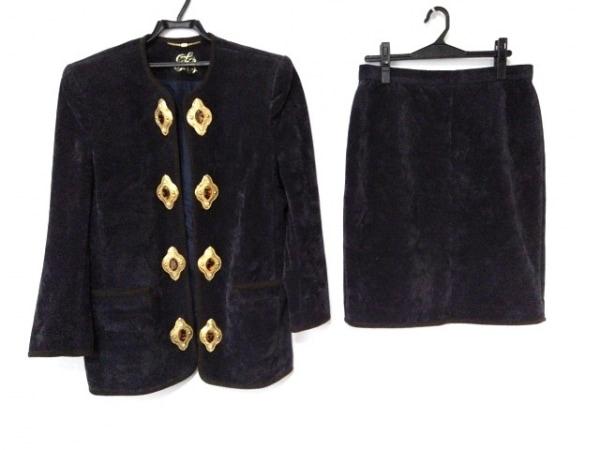 イタリヤ スカートスーツ サイズ11B2 レディース ダークネイビー×ダークブラウン