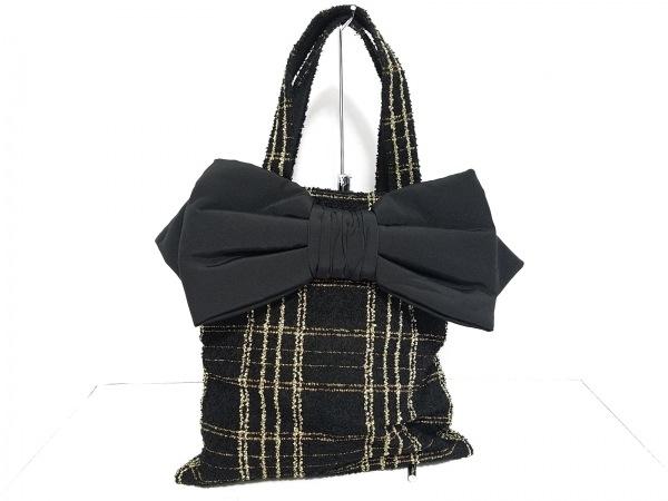 MUGUET(ミュゲ) トートバッグ美品  黒×ゴールド チェック柄/ラメ/リボン