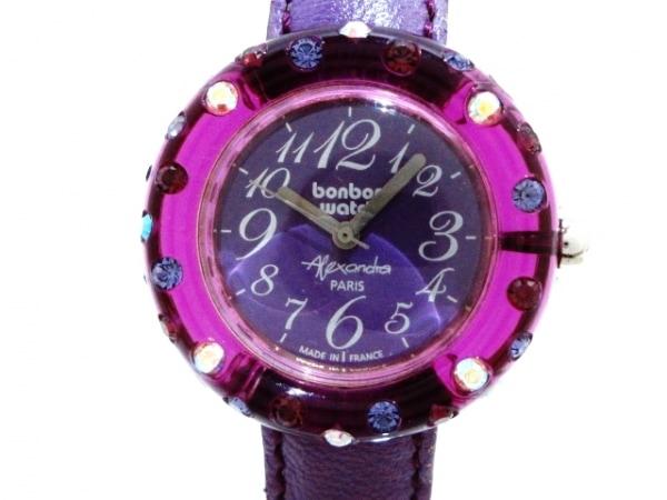 ボンボンウォッチ 腕時計美品  - レディース 革ベルト/ラインストーン パープル
