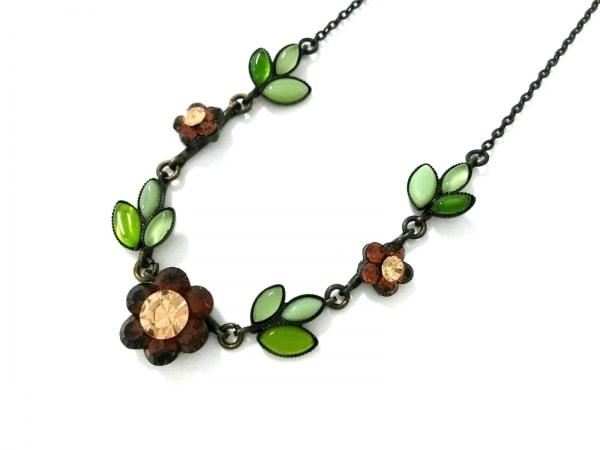 レネレイド ネックレス美品  金属素材×ラインストーン 黒×ブラウン×ライトグリーン