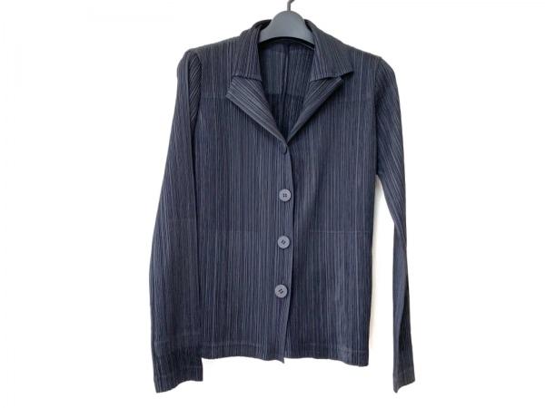プリーツプリーズ ジャケット サイズ3 L レディース 黒 プリーツ/肩パッド