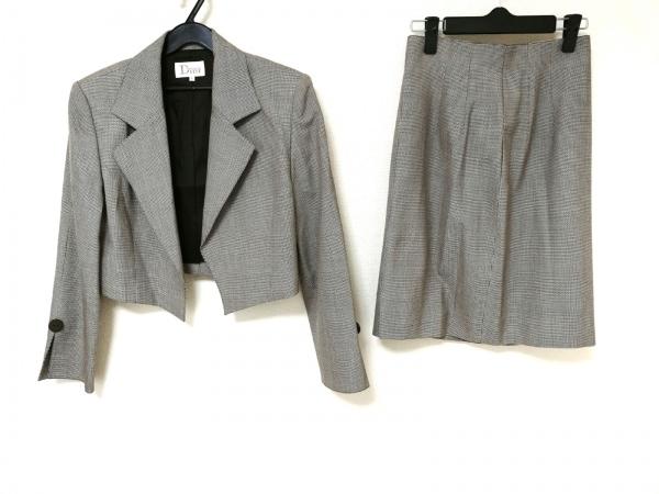 マドモアゼルディオール スカートスーツ レディース ダークブラウン×白 肩パッド