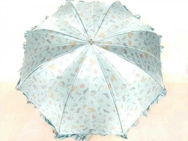 LADUREE(ラデュレ) 日傘美品  ライトブルー×マルチ 化学繊維