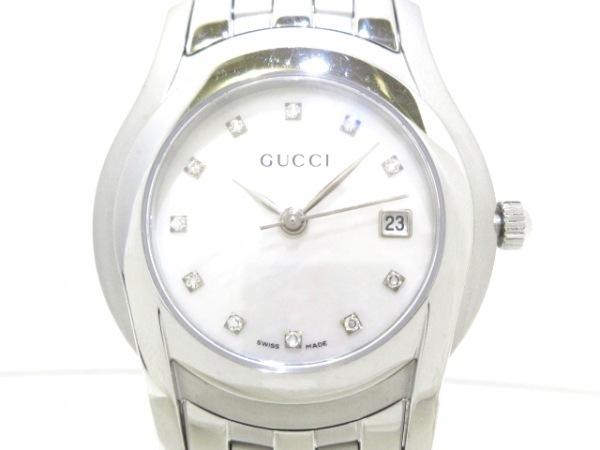 GUCCI(グッチ) 腕時計美品  5500L レディース シェル文字盤/11Pダイヤ シェルホワイト
