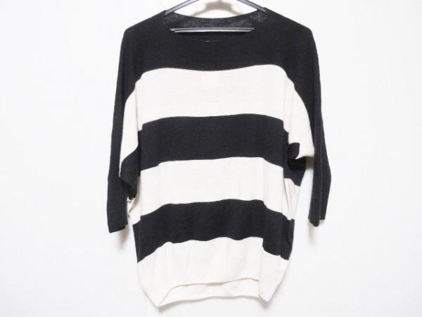 アマカ 七分袖セーター サイズ38 M レディース 黒×白 ドルマンスリーブ/ボーダー