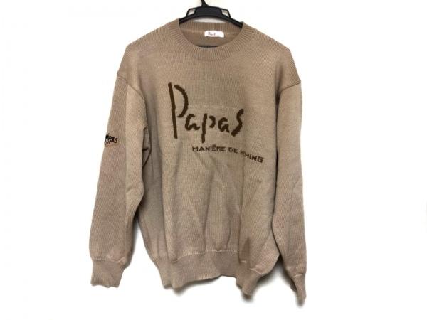 Papas(パパス) 長袖セーター メンズ ベージュ×ブラウン