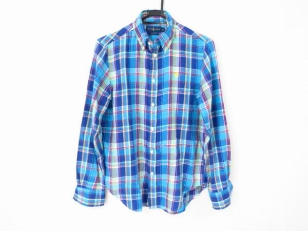 ラルフローレン 長袖シャツ サイズS メンズ美品  ネイビー×ライトブルー×マルチ