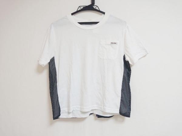 miumiu(ミュウミュウ) 半袖Tシャツ サイズS レディース 白×黒 レース