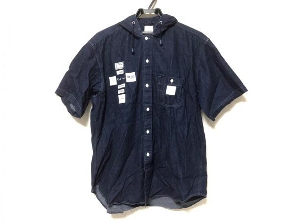 カールヘルム 半袖シャツ サイズM メンズ美品  ダークネイビー×白 フード付き/デニム