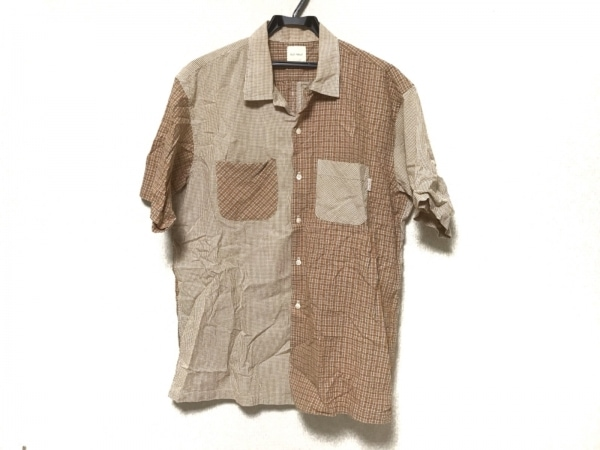 カールヘルム 半袖シャツ メンズ アイボリー×ライトブラウン×マルチ チェック柄