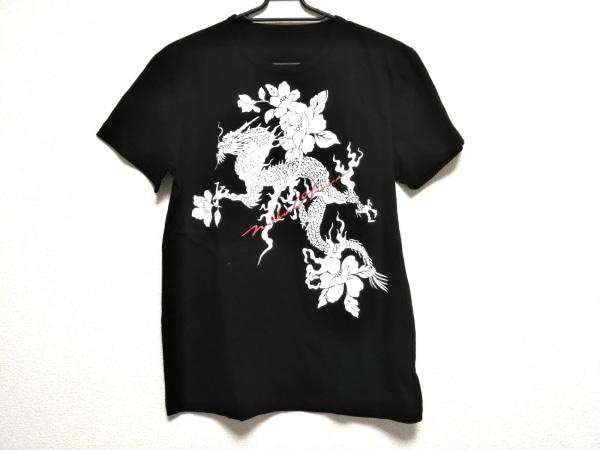 ノコオーノ 半袖Tシャツ サイズ38 M レディース美品  黒×白×レッド ドラゴン/花柄