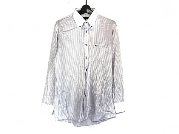 バーバリーブラックレーベル 長袖シャツ サイズ40 M メンズ美品  ライトグレー×白