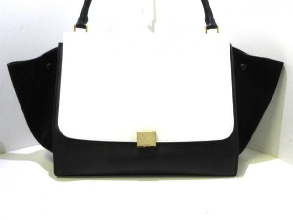 CELINE(セリーヌ) ハンドバッグ トラペーズ 黒×白 レザー×スエード