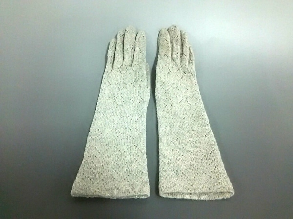 ANTIPAST(アンティパスト) 手袋 7~9 レディース アイボリー×シルバー ラメ ウール
