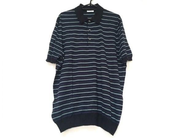 バランタイン 半袖ポロシャツ メンズ 黒×ネイビー×ライトブルー ボーダー