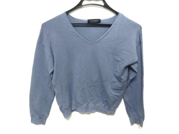 JUSGLITTY(ジャスグリッティー) 半袖セーター サイズ2 M レディース ブルー Vネック