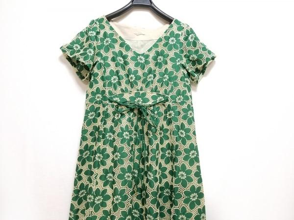セタイチロウ ワンピース サイズ38 M レディース グリーン×アイボリー 刺繍