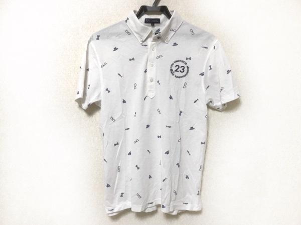 23区(ニジュウサンク) 半袖ポロシャツ サイズL メンズ アイボリー×ネイビー GOLF