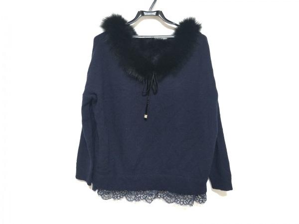 グレースコンチネンタル 長袖セーター サイズ36 S レディース美品  ネイビー×黒