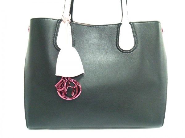 クリスチャンディオール トートバッグ美品  アディクト 黒×ピンク レザー
