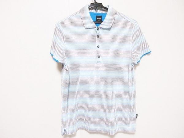 ヒューゴボス 半袖ポロシャツ メンズ ライトグリーン×ブルー×マルチ ボーダー