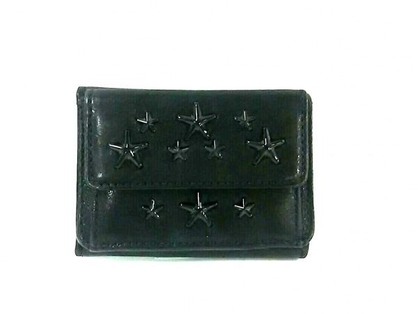 JIMMY CHOO(ジミーチュウ) 3つ折り財布美品  フィリッパ 黒 スタッズ レザー