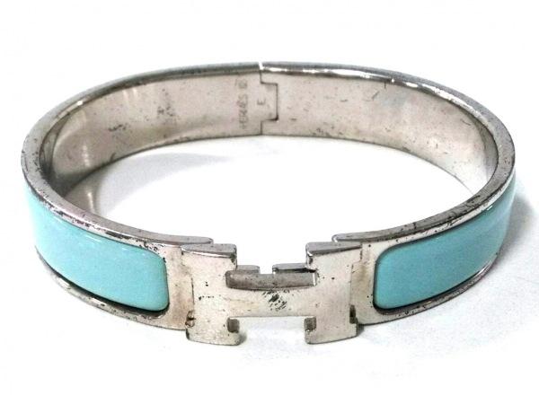 finest selection e5915 4c454 HERMES(エルメス) バングル クリッククラック 金属素材 シルバー×ライトブルー