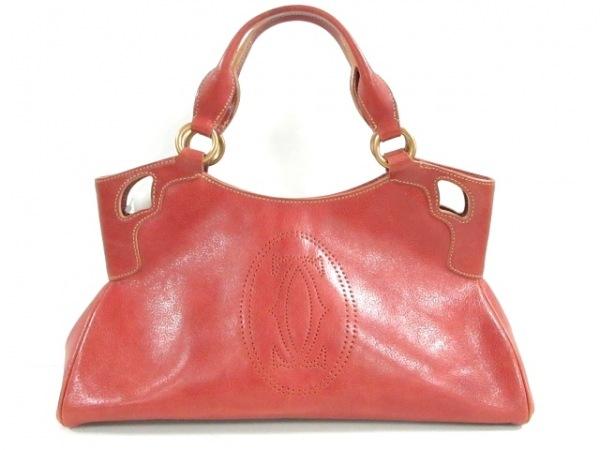 Cartier(カルティエ) ハンドバッグ マルチェロ レッドブラウン レザー