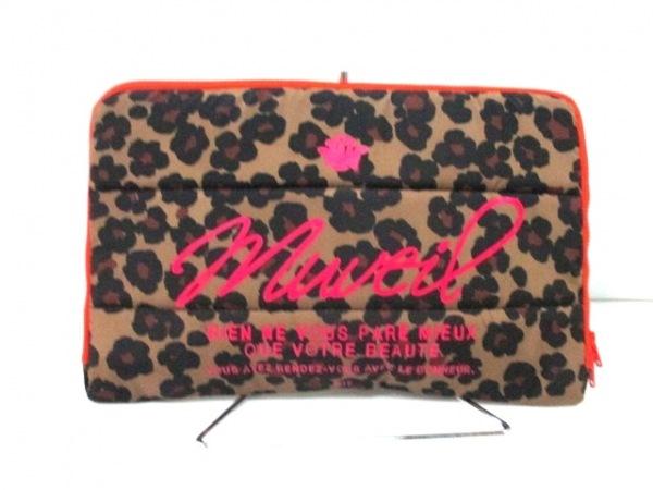 MUVEIL(ミュベール) クラッチバッグ ダークブラウン×黒×マルチ 豹柄 ナイロン