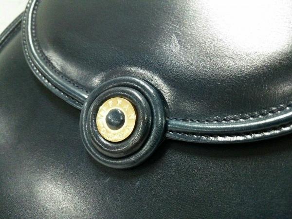 ティファニー ハンドバッグ美品  ダークネイビー×ゴールド レザー×金属素材