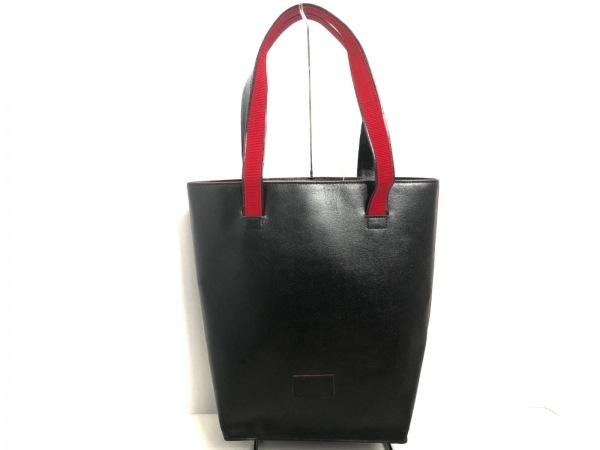 R・KIKUCHI(リョーコキクチ) トートバッグ 黒×レッド レザー×化学繊維