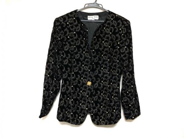 HANAE MORI(ハナエモリ) ジャケット レディース美品  黒×ゴールド 刺繍