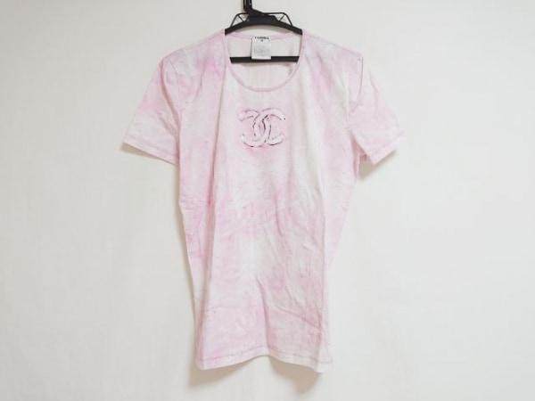 CHANEL(シャネル) 半袖Tシャツ サイズ46 XL レディース ピンク×アイボリー