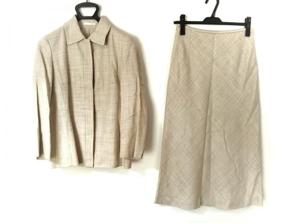 バーバリーロンドン スカートスーツ レディース美品  ベージュ×アイボリー 肩パッド