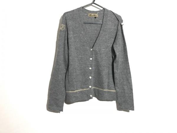 ユキコハナイ カーディガン サイズ10 L レディース グレー×ゴールド 刺繍
