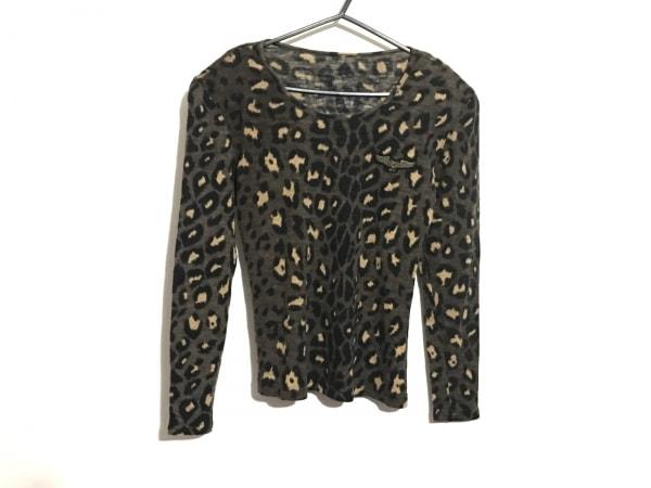 イタリヤ 長袖セーター サイズ7A2 レディース ダークブラウン×黒×ライトブラウン
