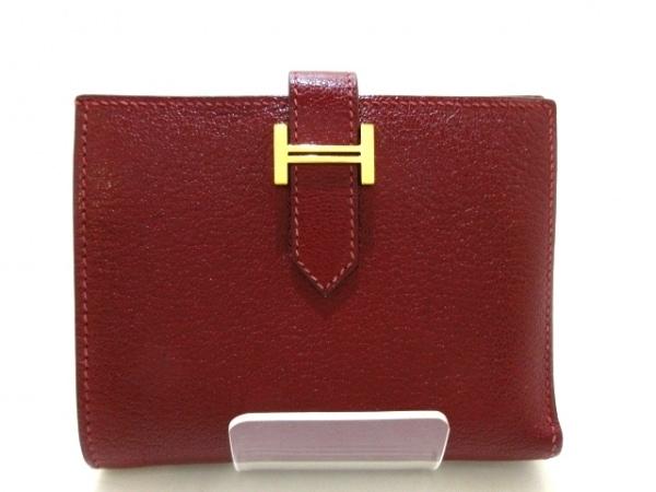 HERMES(エルメス) 2つ折り財布 ベアンコンパクト ルージュアッシュ 新型ゴールド金具
