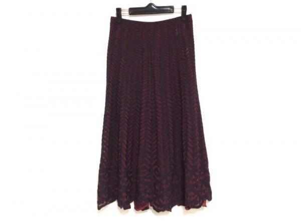 ヒロココシノ ロングスカート サイズ40 M レディース美品  ダークグレー×レッド
