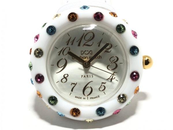 ボンボンウォッチ 腕時計美品  - レディース 革ベルト/ラインストーンベゼル 白