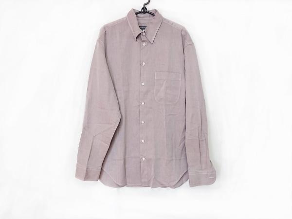 ジョルジオアルマーニクラシコ 長袖シャツ サイズ41/16 メンズ ダークブラウン×白