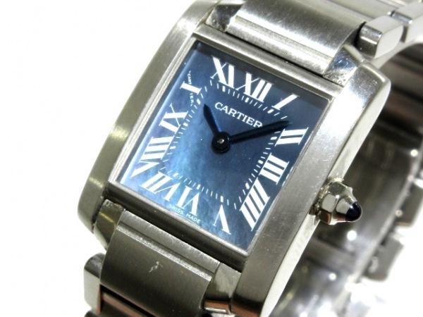 カルティエ 腕時計 タンクフランセーズSM W51034Q3 レディース SS/シェル文字盤