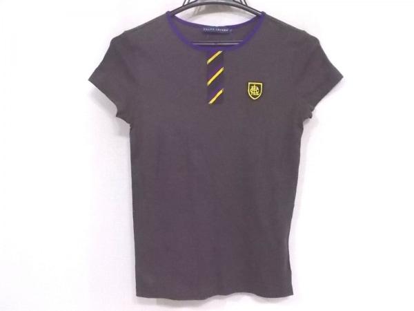 ラルフローレン 半袖Tシャツ サイズS レディース ダークグレー×マルチ ロゴパッチ