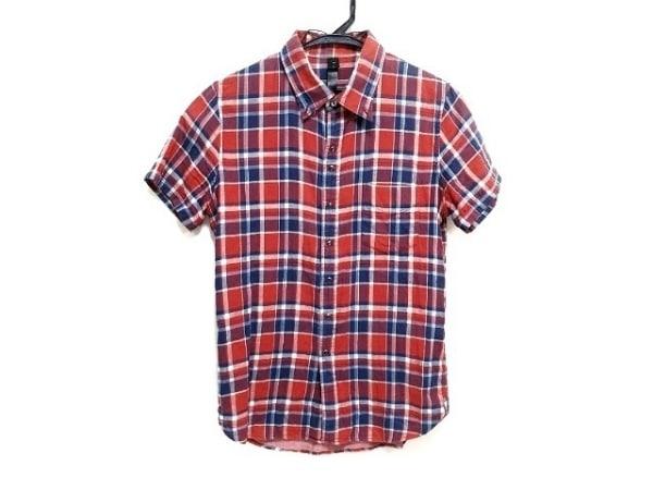 ダブルジェイケイ 半袖シャツ サイズS メンズ レッド×ブルー×アイボリー チェック柄