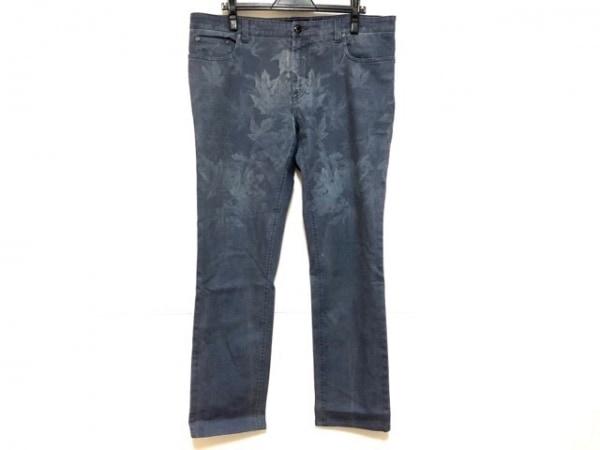 ETRO(エトロ) パンツ サイズ36 S レディース ネイビー×ライトブルー リーフ柄