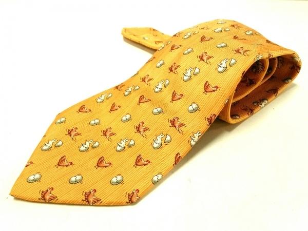 HERMES(エルメス) ネクタイ メンズ オレンジ×ブラウン×マルチ ニワトリ柄/ウサギ柄