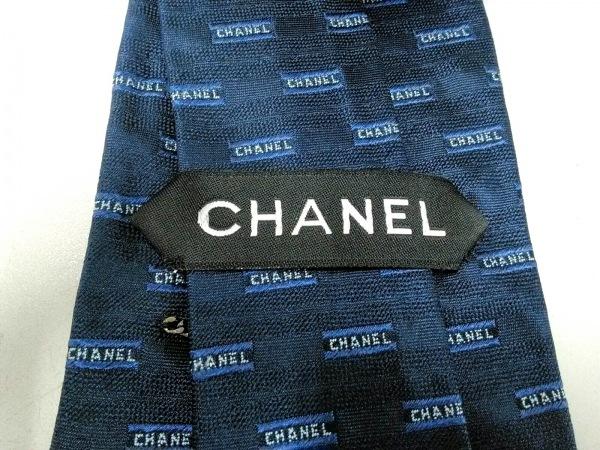 CHANEL(シャネル) ネクタイ メンズ ダークネイビー×ライトグレー ロゴ