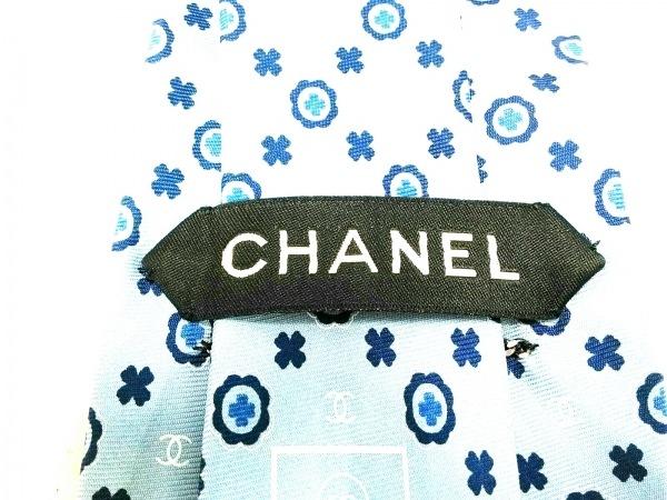 シャネル ネクタイ メンズ美品  ライトブルー×ネイビー×白 ココマーク/クローバー柄